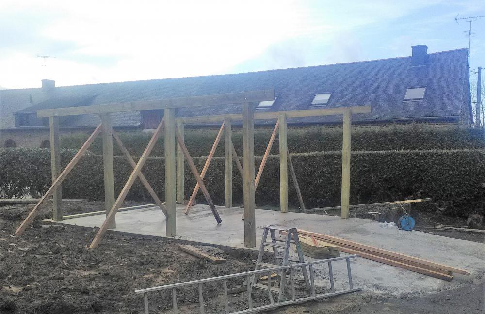 Création charpente garage bois